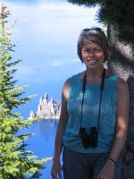 Linda at Crater Lake 7-10 - photo by Jim Stokoe