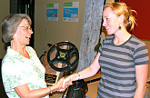 Linda accepting Twin Rivers Media Festival Award 2008