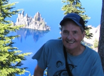 Jim at Crater Lake, Oregon, July 2010